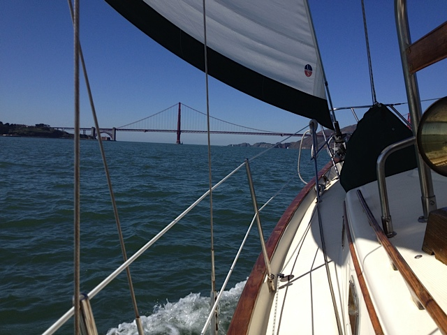 Sailing Pamela out of the Golden Gate