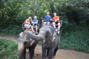 Riding elephants in Chaing Mai in northern Thailand.